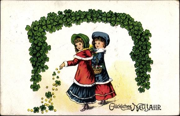 Präge Passepartout Litho Glückwunsch Neujahr, Kleeblätter, Goldmünzen, Hufeisen, Mädchen, Korb