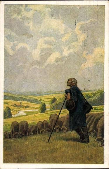 Künstler Ak Hey, Paul, Dies ist der Tag des Herrn, Novitas 20748, Volksliederkarte Nr. 36, Schäfer