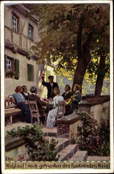 Künstler Ak Hey, Paul, Wohlauf! Noch getrunken, Volksliederkarte Nr. 70, Novitas 735 a