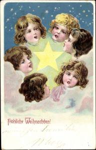 Litho Frohe Weihnachten, Engel, Sterne, Wolken, Singen