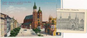 Leporello Ak Kraków Krakau Polen, Hauptring und Marienkirche, Florianer Tor