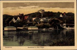 Ak Ruhrtal Essen im Ruhrgebiet, Bootshaus und Villa Hügel