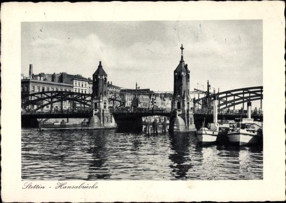 Ak Szczecin Stettin Pommern, Hansabrücke