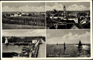 Ak Rust am See im Burgenland, Teilansichten vom Ort, Kirchen, Seepartie, Segelboote