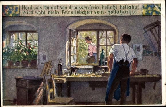 Künstler Ak Hey, Paul, Horch was kommt von draußen rein, Volksliederkarte Nr. 57