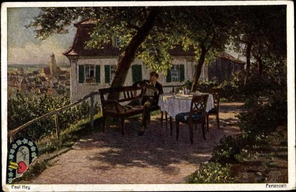 Künstler Ak Hey, Paul, Ferienzeit, Mann auf Terrasse, Stadtbild