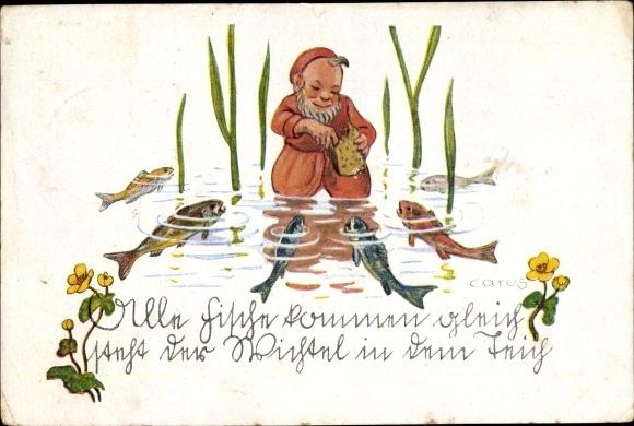 Künstler Ak Carus, Alle Fische kommen gleich steht der Wichtel in dem Teich