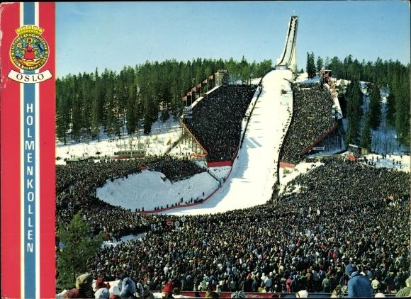 Ak Oslo Norwegen, Holmenkollen Skisprungschanze, Zuschauer