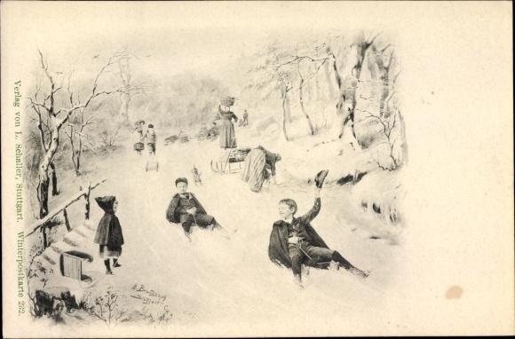 Ak Kinder auf der Rodelbahn, Schlitten, Winter