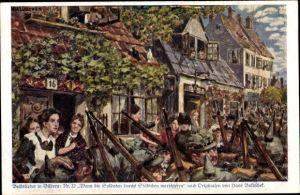 Künstler Ak Baluschek, Hans, Volkslied Nr. 22, Wenn die Soldaten durchs Städtchen marschieren