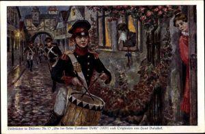 Künstler Ak Baluschek, Hans, Volkslied Nr. 17, Bin der kleine Tambour Beith, Kriegsausmarsch