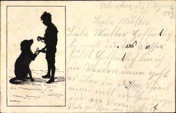 Scherenschnitt Künstler Ak Carus, Junge mit Hund, verbundene Pfote