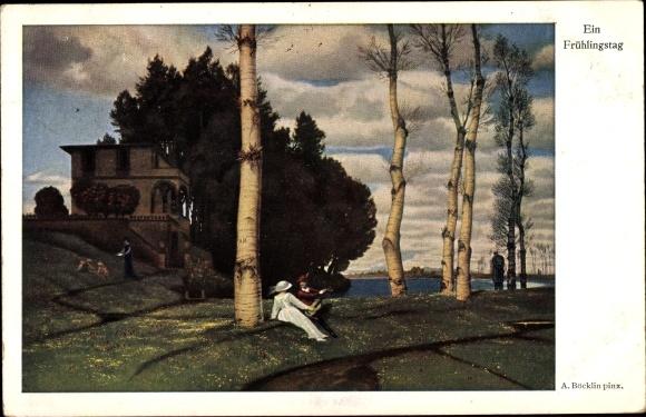 Künstler Ak Böcklin, Arnold, Ein Frühlingstag, Parklandschaft