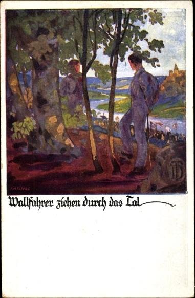 Künstler Ak Amtsberg, Otto, Wallfahrer ziehen durch das Tal, Deutsche Turnerschaft