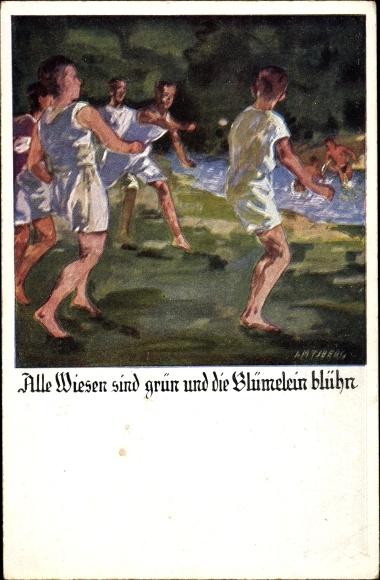 Künstler Ak Amtsberg, Otto, Alle Wiesen sind grün und die Blümelein blühn, Deutsche Turnerschaft