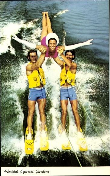 Ak Florida USA, Cypress Gardens, Skiing Adagio trio, Wasserski