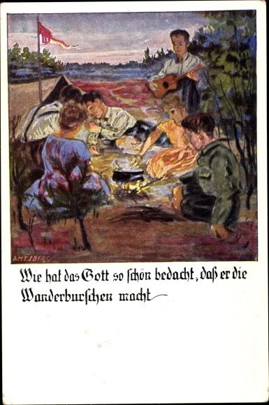 Künstler Ak Amtsberg, Otto, Wie hat das Gott so schön bedacht, dass er die Wanderburschen macht