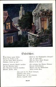 Künstler Lied Ak Ständchen, Leise flehen meine Lieder, Mann auf Balkon