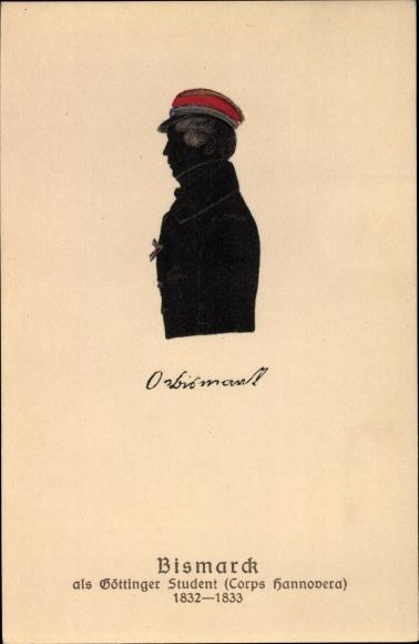 Scherenschnitt Ak Otto von Bismarck als Göttinger Student, Corps Hannovera, 1832-1833