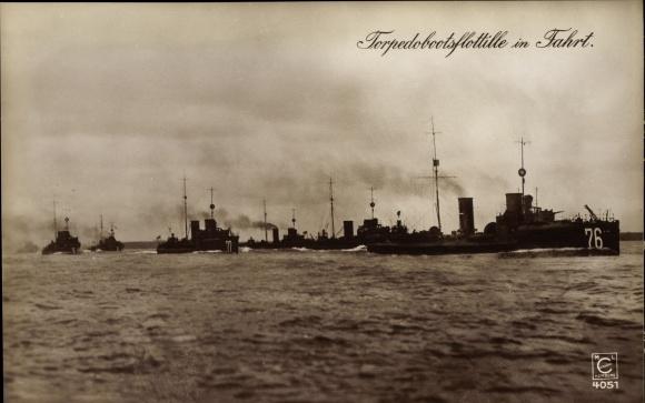 Ak Deutsche Kriegsschiffe, Torpedobootsflottille in Fahrt