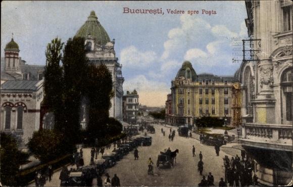 Ak București Bukarest Rumänien, Vedere spre Posta, Post