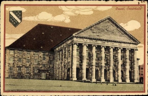 Ak Kassel in Hessen, Stadthalle, Außenansicht, Vorderseite, Säulen, Wappen