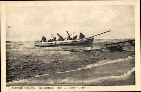 Ak Egmond aan Zee Nordholland, Oefeningen met de Reddingsboot