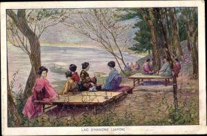 Künstler Ak Hakone Präf. Kanagawa Japan, Ashi See, Frauen in Kimonos