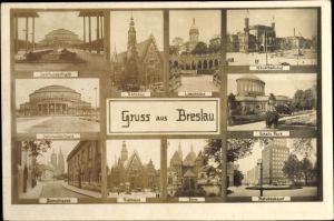 Ak Wrocław Breslau Schlesien, Hauptbahnhof, Jahrhunderthalle, Jahrhunderthaus, Domstraße, Rathaus