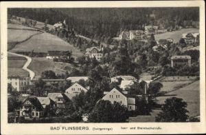 Ak Świeradów Zdrój Bad Flinsberg Schlesien, Iser u. Steinbachstraße, Panorama vom Ort