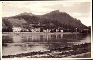 Ak Königswinter am Rhein, Blick zum Rhein und Drachenfels