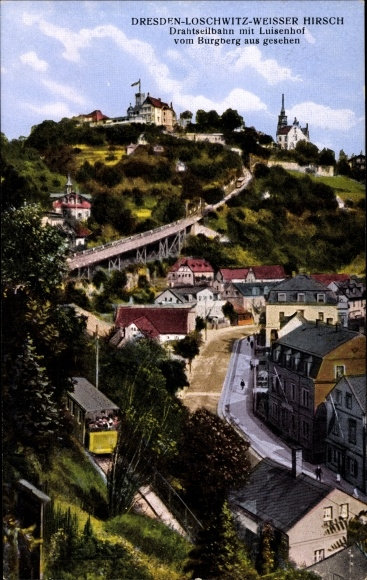 Ak Dresden Nordost Loschwitz, Weißer Hirsch, Drahtseilbahn, Luisenhof