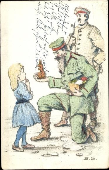 Künstler Ak Deutsche Soldaten, Mädchen, Osterhase