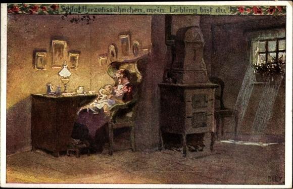 Künstler Ak Hey, Paul, Schlaf, Herzenssöhnchen, Volksliederkarte Nr. 50