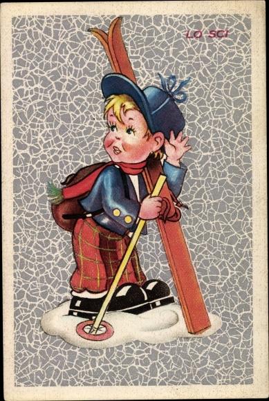 Künstler Ak Lo Sci, Junge mit Skiern, Mütze