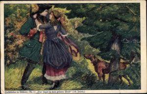 Künstler Ak Baluschek, Hans, Volkslied Nr. 11, Der Jäger in dem grünen Wald