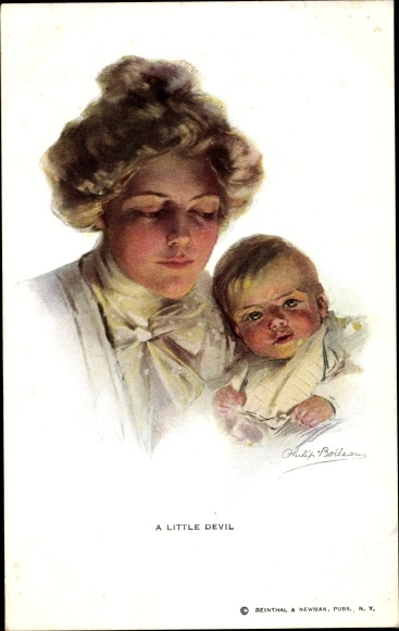 Künstler Ak Boileau, Philip, A Little Devil, Mutter mit Kind