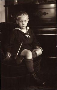 Foto Ak Junge im Matrosenhemd, 5 Jahre alt, 1927, Essen im Ruhrgebiet