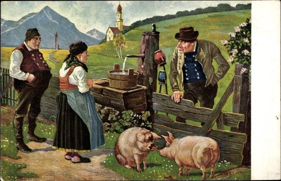 Künstler Ak Wenz, C. L., Wer Schwein hat den gfreit dem andern sein Neid