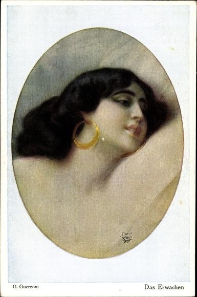 Künstler Ak Guerzoni, G., Das Erwachen, Portrait einer dunkelhaarigen Frau, Primus 3060