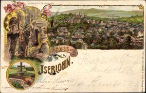 Litho Iserlohn im Märkischen Kreis, Dechenhöhle, Nixengrotte, Eisernes Kreuz
