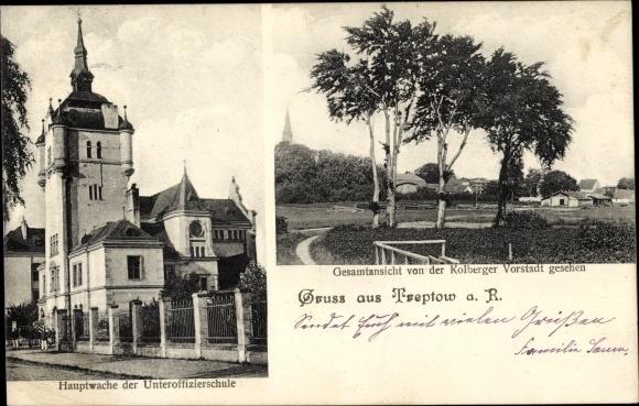 Ak Trzebiatów Treptow Rega Pommern, Hauptwache der Unteroffizierschule, Kolberger Vorstadt