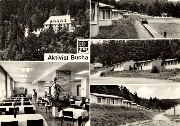 Ak Bucha bei Saalfeld in Thüringen, FDGB Erholungsheim Aktivist, Bungalows, Speisesaal 0