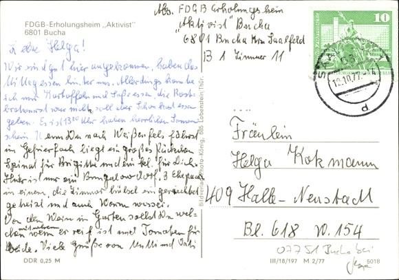 Ak Bucha bei Saalfeld in Thüringen, FDGB Erholungsheim Aktivist, Bungalows, Speisesaal 1