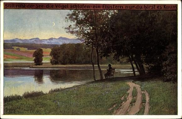 Künstler Ak Hey, Paul, Still ruht der See, Volksliederkarte Nr. 76