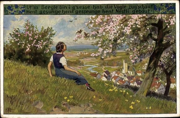 Künstler Ak Hey, Uf'm Bergli bin i g'sesse, Volksliederkarte Nr. 74