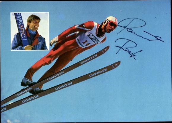 Ak Skispringer Raimund Resch, Österreichischer Meister, Autogramm