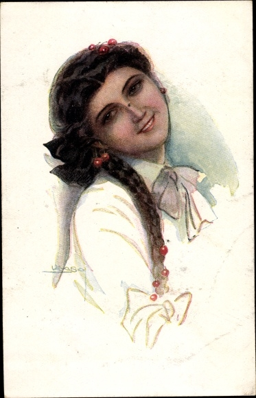 Künstler Ak Usabal, Luis, Junge Frau, Kirschen, Flechtzopf, RKL 333 2