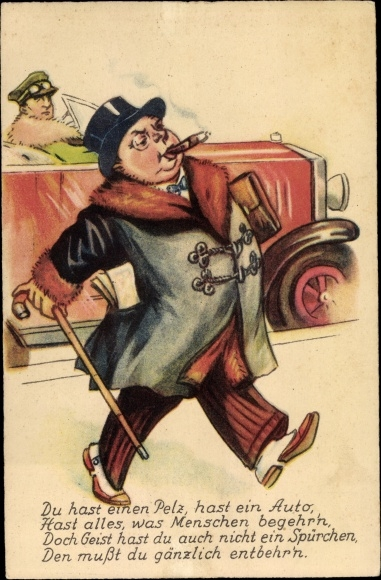 Künstler Ak Du hat einen Pelz, hast ein Auto, Mann, Zigarre, Mantel