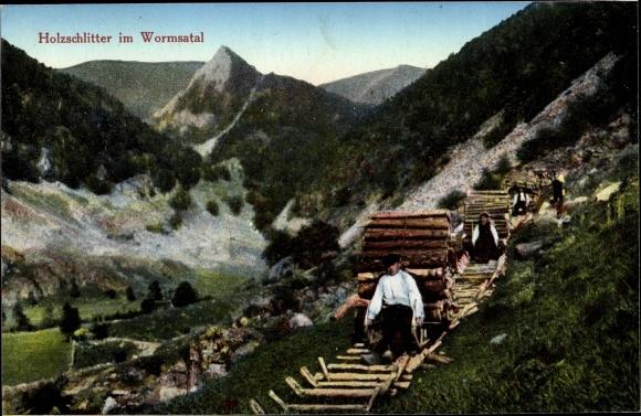 Ak Holzschlitter im Wormsatal, Forstwirtschaft